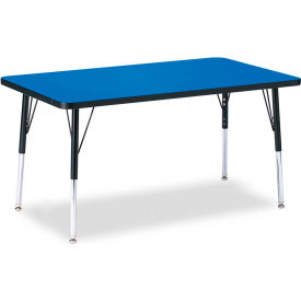 """Berries® Rectangle Activity Table, 30""""W x 48""""L x 24-31""""H, Classic Blue"""