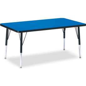 "Berries® Rectangle Activity Table, 30""W x 48""L x 15"" To 24""H, Classic Blue"