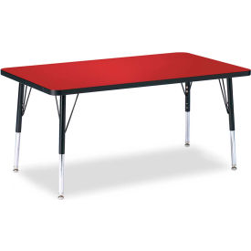 """Berries® Rectangle Activity Table, 30""""W x 48""""L x 15"""" To 24""""H, Classic Red"""
