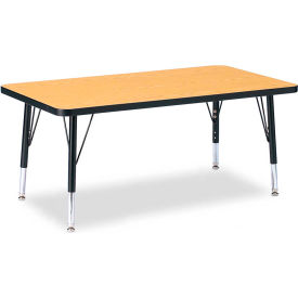 """Berries® Rectangle Activity Table, 24""""W x 36""""L x 11"""" To 15""""H, Classic Oak"""
