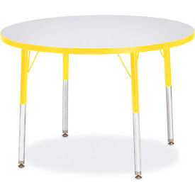 """Berries® Round Activity Table, 36""""W x 36""""L x 24-31""""H, Prism Yellow"""
