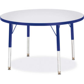 """Berries® Round Activity Table, 36""""W x 36""""L x 15"""" To 24""""H, Prism Blue"""