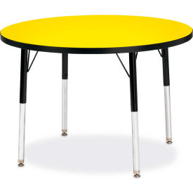 "Berries® Round Activity Table, 36""W x 36""L x 15"" To 24""H, Classic Yellow"