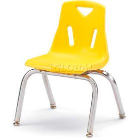 "Jonti-Craft® Berries® Plastic Chair with Chrome-Plated Legs - 14"" Ht - Yellow"