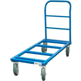 "Jescraft™ Flat Dolly & Handle FDH-2436PL8-4S - 24 x 36 - 8"" Polyolefin Casters - 3000 Lbs."