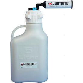 Justrite 12811 VaporTrap™ Carboy With Filter Kit, HDPE, 20-Liter, 7 Ports