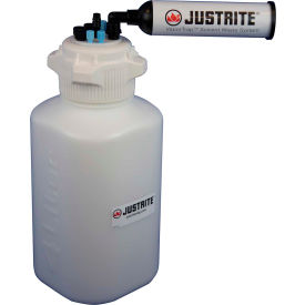 Justrite 12820 VaporTrap™ Carboy With Filter, HDPE, 13.5-Liter, 8 Ports