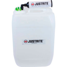 Justrite 12837 VaporTrap UN/DOT Carboy With Filter Kit, HDPE, 20-Liter, 6 Ports by