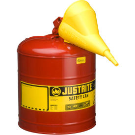 Justrite® Type I Steel Safety Can With Funnel, 5 Gallon (19L), Self-Close Lid, Red, 7150110