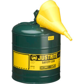Justrite® Type I Steel Safety Can With Funnel, 5 Gallon (19L), Self-Close Lid, Green, 7150410