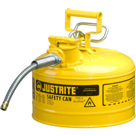 """Justrite® Type II AccuFlow™ Steel Safety Can, 2.5 Gal., 5/8"""" Metal Hose, Yellow, 7225220"""