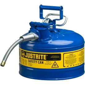 "Justrite® Type II AccuFlow™ Steel Safety Can, 2.5 Gal., 5/8"" Metal Hose, Blue, 7225320"