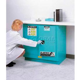 "Justrite 23 Gallon 2 Door, Self-Close, Fume Hood Acid Cabinet, 36""x21-5/8""x35-3/4"", Silver"