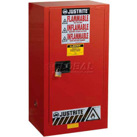 """Justrite 20 Gallon 1 Door, Manual, Paint & Ink Cabinet, 23-1/4""""W x 18""""D x 44""""H, Red"""