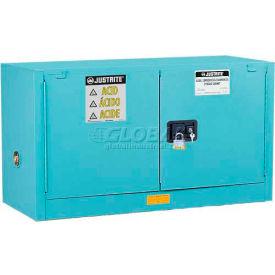 "Justrite 17 Gallon 2 Door, Self-Close, Piggyback, Acid Cabinet, 43""W x 18""D x 24""H, Blue"