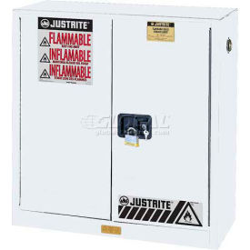 "Justrite 30 Gallon 2 Door, Manual, Flammable Cabinet, 43""W x 18""D x 44""H, White"