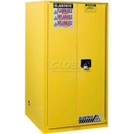 "Justrite 96 Gallon 2 Door, Manual, Paint & Ink Cabinet, 34""W x 34""D x 65""H, Yellow"