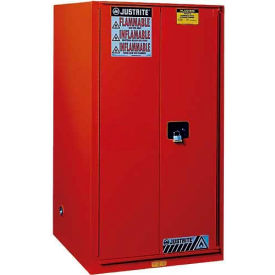 """Justrite 96 Gallon 2 Door, Manual, Paint & Ink Cabinet, 34""""W x 34""""D x 65""""H, Red"""