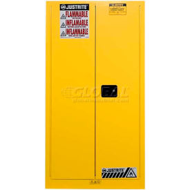 """Justrite 1-55 Gal. Drum, Manual, Flammable Cabinet, Incl. Drum Support, 34""""W x 34""""D x 65""""H, Yellow"""