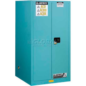 "Justrite 90 Gallon 2 Door, Manual, Acid Corrosive Cabinet, 43""W x 34""D x 65""H, Blue"