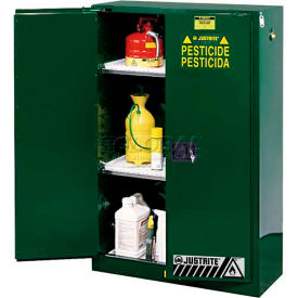 "Justrite 90 Gallon 2 Door, Manual, Pesticide Cabinet, 43""W x 34""D x 65""H, Green"