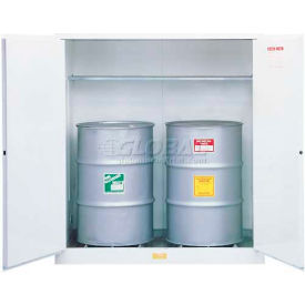 """Justrite 2-55 Gal. Drum, Manual, Flammable Cabinet, Incl. Drum Support, 59""""W x 34""""D x 65""""H, White"""