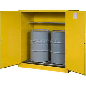 """Justrite 2-55 Gal. Drum, Manual, Flammable Cabinet, Incl. Drum Rollers, 59""""W x 34""""D x 65""""H, Yellow"""