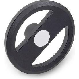 "JW Winco - 4BRX2K/A - Alum. Flat-Faced Spoked Handwheel w/o Handle - 4.92"" D x .500"" Bore - Black"