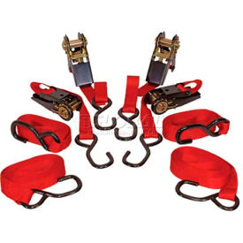 """K-Tool 73870 900 Lb. Cap. Cargo Control Ratchet Tie Down Strap 15' x 1"""" PVC Coated Hooks 4 Pack by"""