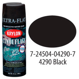 Krylon Camouflage With Fusion For Plastic Paint Black - K04290007 - Pkg Qty 6