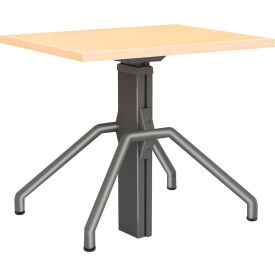 """RightAngle™ Arriba Gas Lift Height Adjustable Desk 24""""x 24""""- Driftwood with Silver Base"""