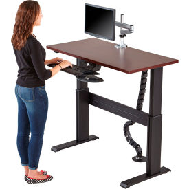 """RightAngle™ Eficiente LT Electric Height Adjustable Desk 48""""x 24""""- Driftwood w/ Silver Frame"""