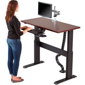 "RightAngle™ Eficiente LT Electric Height Adjustable Desk 60""x 24""- Driftwood w/ Black Frame"