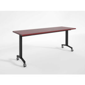 "RightAngle Flip Training Table w/ Casters 24"" x 60"", Mahogany w/Black Base - R-Style Series"