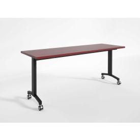 "RightAngle Flip Training Table w/ Casters 30"" x 60"", Mahogany w/Black Base - R-Style Series"