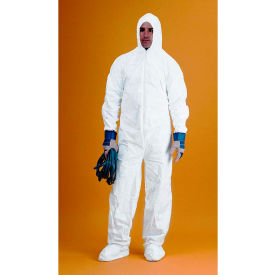 KeyGuard® Coverall/Bunny Suit, Attached Hood & Boots, Zipper Front, White, 3XL, 25/Case