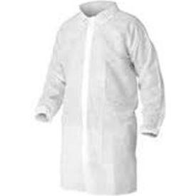 HD Polypropylene Lab Coat, No Pockets, Elastic Wrists, Snap Front, Single Collar, White, L, 30/Case