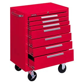 "Kennedy® 277XR K1800 Series 27""W X 18""D X 35""H 7 Drawer Red Roller Cabinet"