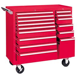 """Kennedy® 315XR K1800 Series 39-3/8""""W X 18""""D X 39""""H 15 Drawer Red Roller Cabinet"""