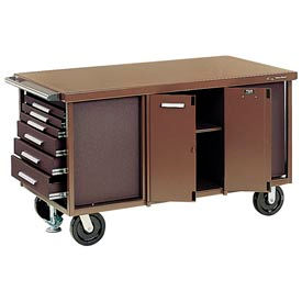 "Kennedy® 6006B 60"" 6-Drawer Industrial Mobile Bench - Brown"
