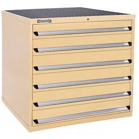 Kennedy 6-Drawer Modular Cabinet w/550 lb Cap. Full Extension Slide Drawers - 44x30x40, Tan Texture