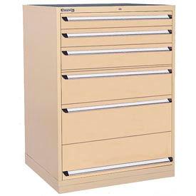 Kennedy 6-Drawer Modular Cabinet w/550 lb Cap. Full Extension Slide Drawers - 44x30x60, Tan Texture