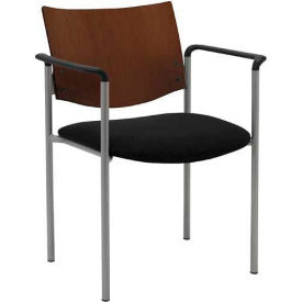 Side / Guest Chair, with Arms and Chocolate Wood Back, Black Vinyl Seat