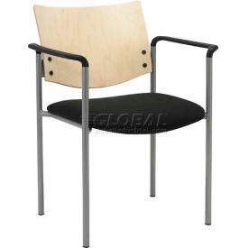 Side / Guest Chair, with Arms and Natural Wood Back, Black Vinyl Seat