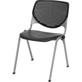 Poly Stack Chair W/ Perforated Back, Black
