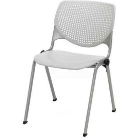 Poly Stack Chair W/ Perforated Back, Light Grey
