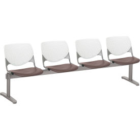 KFI Beam Seating Guest Chairs - 4 Seater - White/Brownstone