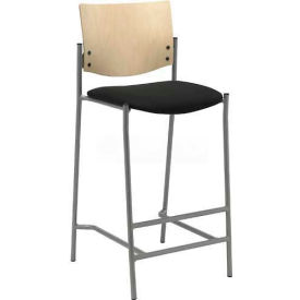 Barstool with Silver Frame and Natural Wood Back, Black Vinyl Seat