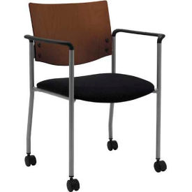 Side / Guest Chair, with Arms, Chocolate Wood Back and Casters, Black Vinyl Seat