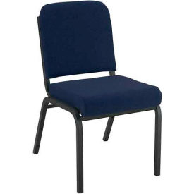 """KFI Stacking Chair with Front Roll - Armless - 2"""" Navy Fabric/Black Steel Frame"""